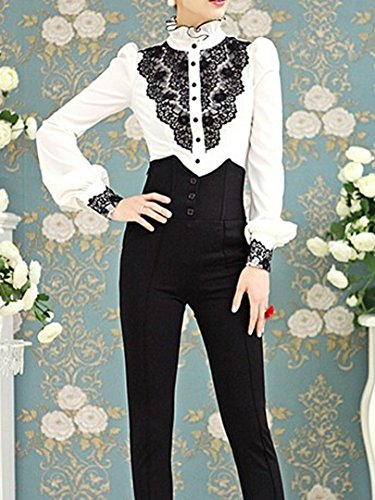 614948e66ad ... Choies Women's Vintage White With Black Lace Stand-Up Collar Puff Long  Sleeve Shirt ...