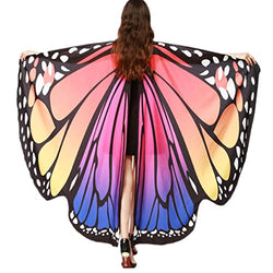 VESNIBA Halloween/Party Prop Soft Fabric Butterfly Wings Shawl Fairy Ladies Nymph Pixie Costume Accessory (168X135CM, B-Hot Pink)