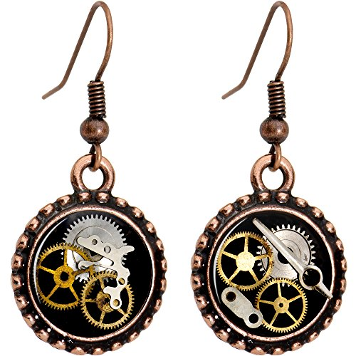 Body Candy Handcrafted Steampunk Pocket Watch Gears Fishhook Earrings
