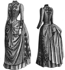 1887 Cheviot Dress with Braid Trimming Pattern