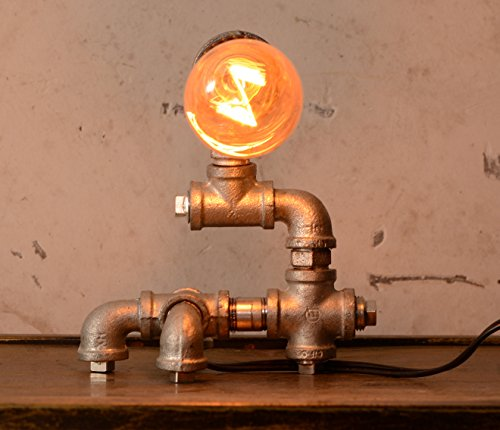 Loft Living Designer Steampunk Water Piping Desk Top Table Lamp Modern Antique Rustic Decor Steam Punk Industrial Craftsmanship Bedside Minimalist Iron Retro Lighting (Bulb not included)