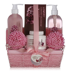 Spa Gift Basket in Cherry Blossom Fragrance - 8 Piece Luxurious Bath Set for Women & Men, Includes Shower Gel, Bubble Bath, Salts, Lotion & More! Great Wedding, Anniversary or Graduation Gift