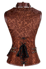 Charmian Women's Retro Goth Spiral Steel Boned Brocade Steampunk Bustiers Corset with Jacket and Belt Brown Medium
