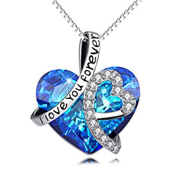 AOBOCO Heart Necklace 925 Sterling Silver I Love You Forever Heart Pendant Necklace with Blue Swarovski Crystals Jewelry for Women Anniversary Birthday Women Girls Girlfriend Wife Daughter Mom