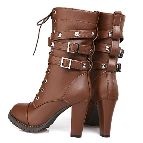 023679bf74dd6 ... Susanny Women s Mid Calf Leather Boots Chic High Heel Lace Up Military  Buckle Motorcycle Cowboy Brown ...