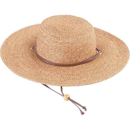 b9c1272e Sloggers Women's Wide Brim Braided Sun Hat with Wind Lanyard - Dark Brown - UPF  50