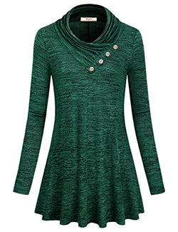 Miusey Women's Long Sleeve Cowl Neck Form Fitting Casual Tunic Top Stretch Ruched Blouse Trendy Fashion Jersey Sweatshirt with Button Trim Female Clothes (Green-2, Medium)