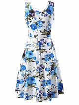 FENSACE Women's Sleeveless Scoop Neck Summer Beach Midi Flared Tank Dress (Medium, 17020-9)