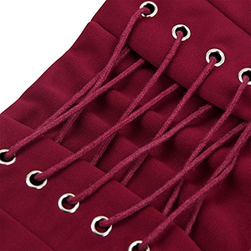 4e50978780 ... Killreal Women's Lace-up Vintage Victorian Steampunk Gothic  Asymmetrical Skirt Burgandy Large ...