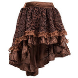 Bslingerie Womens Steampunk Asymmetrical multicolored Skirt (Brown, XXL)