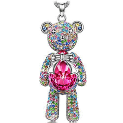 J.NINA Teddy Bear Necklace for Women Birthstone Princess Pendant Necklaces Jewelry with Swarovski Crystals Birthday for Girlfriend Wife Granddaughter Daughter Girls Sisters Niece