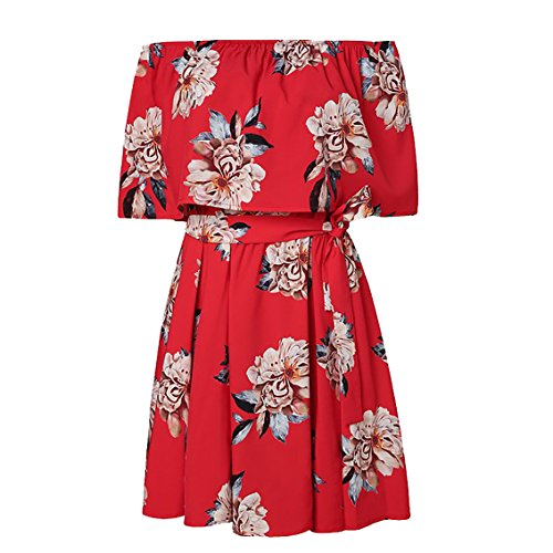 05a3f3654a1 ... Yobecho Women Summer Off Shoulder Strapless Floral Print Pleated Dresses  (M