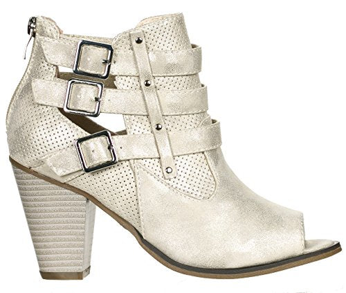 Forever Women's Buckle Strap Block Heel Ankle Booties (Champagne Peep/10 B(M) US)