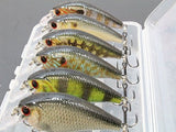 6 Life Like Hard Baits Fishing Lures in One Tackle Box Crankbait RealSkin Painting For Bass Fishing HC15KB