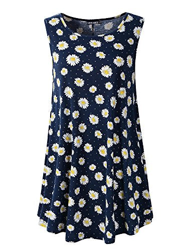 32e59c3f85cb56 Veranee Women s Sleeveless Swing Tunic Summer Floral Flare Tank Top ...
