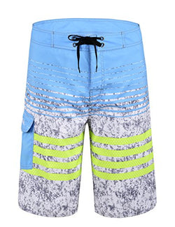 NONWE Men's Quick-drying striped Beach Shorts Blue(with Green Stpried) 32