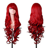 "Rbenxia Curly Cosplay Wig Long Hair Heat Resistant Spiral Costume Wigs Anime Fashion Wavy Curly Cosplay Daily Party Red 32"" 80cm"