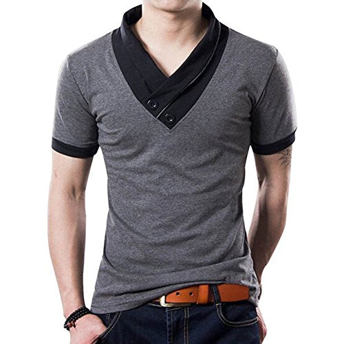 L'asher Men Summer Fashion Button V Neck Slim Muscle Tops Tee T Shirt Tshirt (US L/Asia Tag 2XL, Grey)