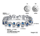 Feraco Blue Tennis Bracelet Women Cubic Zirconia Crystal Bangle Wedding Bridal Jewelry Mother's Day Gifts for Mom,6.69 inch
