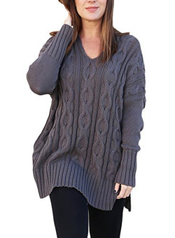 Sidefeel Women Casual V Neck Loose Fit Knit Sweater Pullover Top X-Large Grey