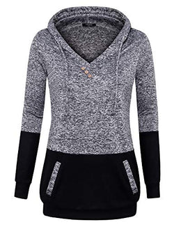 VALOLIA Pullover Sweatshirt Hoodie, Women's Soft Knitted Fabric Comfy Cute Hoody Sweater Multi-Black L