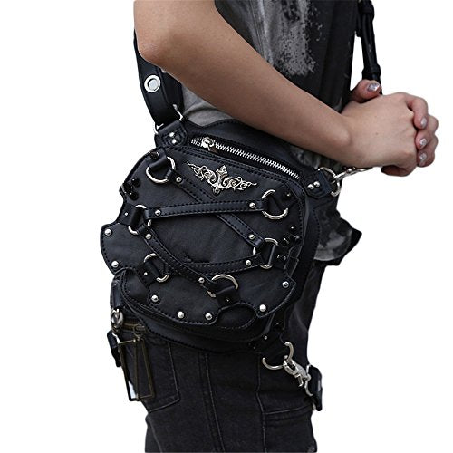 steel master Gothic Waist Bag Packs Steampunk Thigh Hip Holster Waist Packs Retro Leather Travel Bags