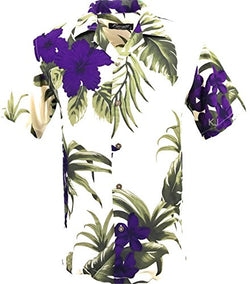 Favant Tropical Luau Beach Floral Print Men's Hawaiian Aloha Shirt (X-Large, Cream/Purple)