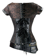 Charmian Women's Goth Steel Boned Steampunk Retro Brocade Halloween Costume Corset With Jacket and Belt Heavy-Strong-Steel-Coffee-Brown X-Large