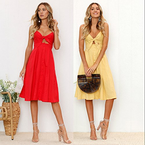 45348e121a4 ... ECOWISH Womens Dresses Summer Tie Front V-Neck Spaghetti Strap Button  Down A-Line ...