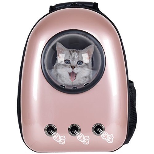 Giantex Astronaut Pet Cat Dog Puppy Carrier Travel Bag Space Capsule Backpack Breathable (Golden Rose)
