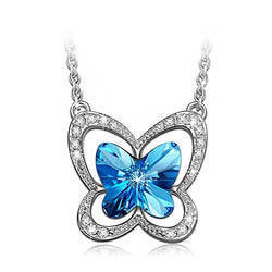 Swarovski Crystals Necklace, LadyColour Blue Butterfly Pendant Necklace Animal Jewelry for Women Teen Girl Birthday Gifts for Girlfriend Girls Daughter Niece Mothers Day Gifts for Granddaughter Sister