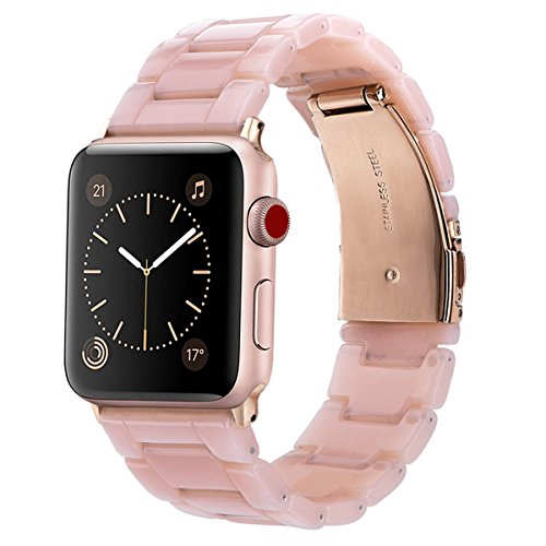 V-Moro Apple Watch Band 38mm Women Men- Fashion Resin iWatch Band Bracelet With Copper Stainless Steel Buckle for Apple Watch Series 3 Series 2 Series 1 (Pink-tone, 38mm(5''-7.67''))