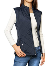 Allegra K Women's Stand Collar Lightweight Gilet Quilted Zip Vest Dark Blue Medium