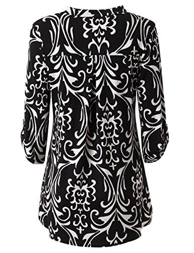cee7607e9d906 ... Zattcas Womens Floral Printed Tunic Shirts 3 4 Roll Sleeve Notch Neck  Tunic Top