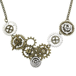 Q&Q Fashion Vintage Gold & Silver Watch Clock Clockwork Hand Gear Cog Steampunk Necklace
