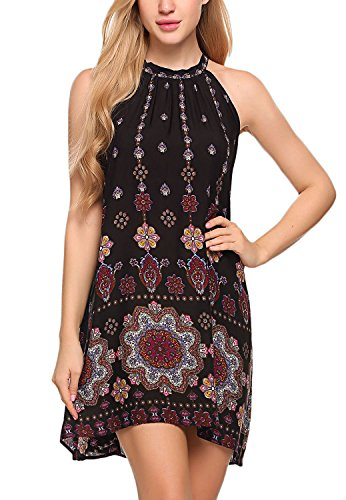 BLUETIME Women's Casual Sleeveless Halter Neck Boho Print Short Dress Sundress (M, Black)