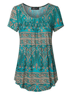 Vinmatto Women's Scoop Neck Pleated Blouse Top Tunic Shirt(XL,Multi Green)