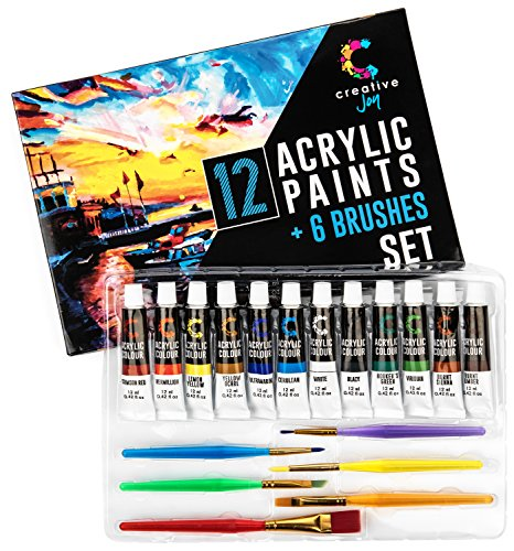 Creative Joy Acrylic Paint Set & Brushes with Rich Pigments in 12 Vivid Colors with 6 Starter Brushes Is Great for Beginners and Hobby Painters from Kids through Adults by
