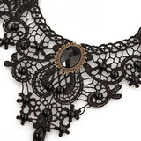 MEiySH Black Lace Gothic Lolita Pendant Choker Necklace Earrings Set