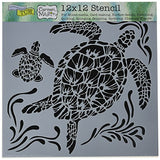 "CRAFTERS WORKSHOP TCW610 Template, 12"" x 12"", Sea Turtles, White"