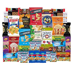 Healthy Snacks Care Package Snack Box for College Students, Military, Gift Basket, Fathers Day, Get well and Back to School with Chips, Cookies, Granola Bars and Nuts (40 Count)