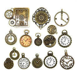 20pcs Mixed Antiqued Bronze Charms Clock Face Charm Pendant, DIY Crafts, Gears, Jewelry Making, Steampunk Pendants