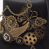 Crystalbella Kid Cosplay Women Steampunk Mini Top Hat Hair Clip Punk Gear Wings Clock Butterfly Hair accessories