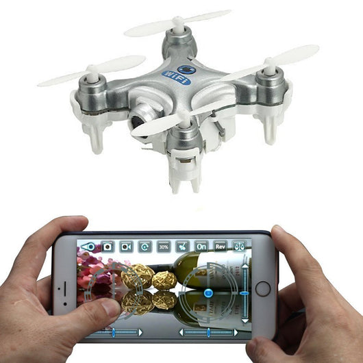 oneCase Cheerson CX-10W 4CH 2.4GHz iOS / Android APP Wifi Romote Control RC FPV Real Time Video Mini Quadcopter Helicopter Drone UFO with 0.3MP HD Camera, 6 Axis Gyro - Silver