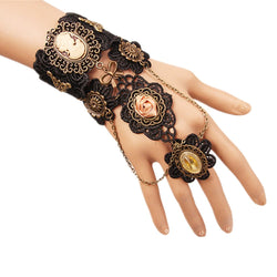 Meiysh Gothic Lolita Retro Steampunk Gear Lace Slave Bracelet Wristband Black Flower Ring