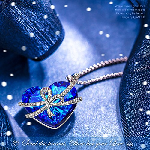 8ba9ef3be ... QIANSE Heart of the Ocean White Gold Necklace Pendant Necklaces for  Women Gifts for Girlfriend Wife ...