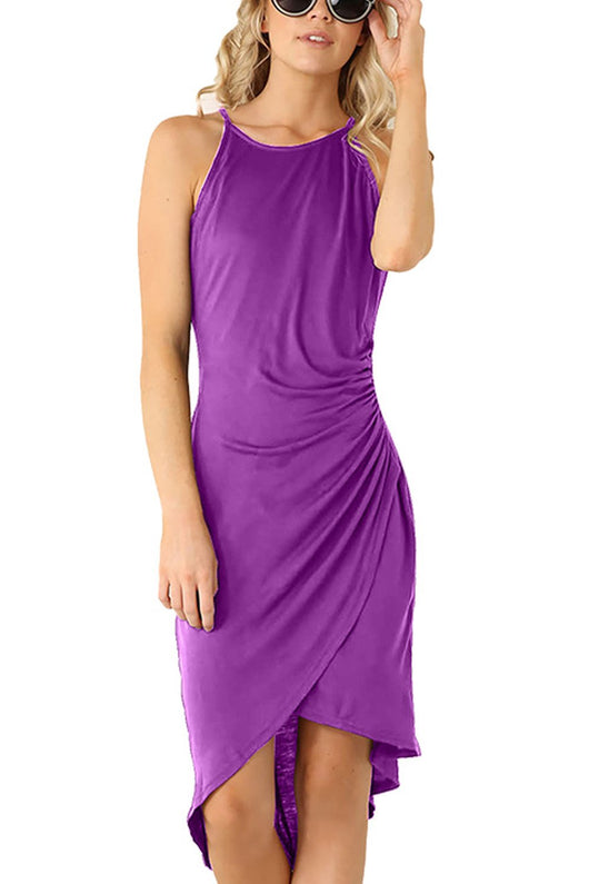 Eliacher Women's Casual Spaghetti Strap Summer Dress Bodycon Midi Party Sleeveless Dresses (M, Violet)