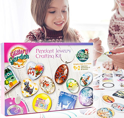 Girls Jewelry Making Kit. DIY Necklace Pendant and Bracelet Crafting Set with Glass Beads and Charms - Fashion Accessories Arts and Crafts Supplies. Great as Mother's Day Handmade Gift