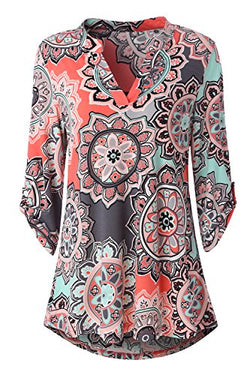 Zattcas Womens Floral Printed Tunic Shirts 3/4 Roll Sleeve Notch Neck Tunic Top (X-Large, Multi Coral)