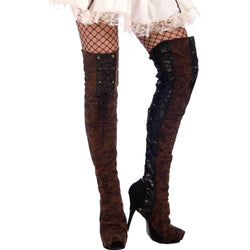 Forum Novelties Steampunk Thigh High Boot Tops, Black/Brown, One Size